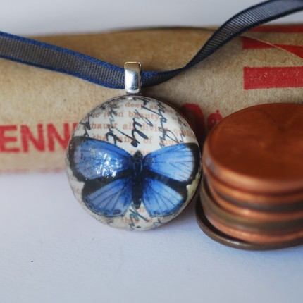 Weekly Sale Pendant- The -Lucky Penny-Cobalt Butterfly Pendant- Buy 3 get 1 free-