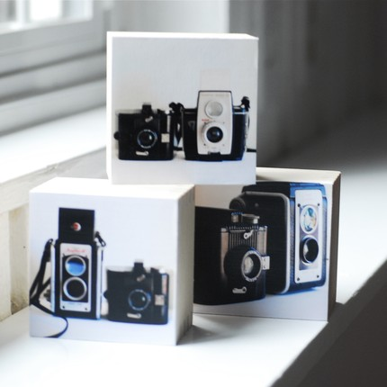 Vintage Cameras- Three sculptural photoblocks, a tryptic