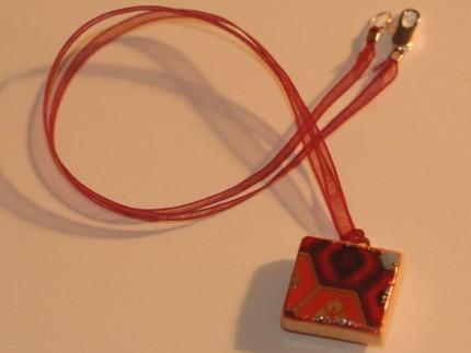 Chiyogami Necklace Charm Geometric EDO Japanese Washi Jewelry