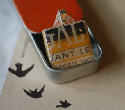 Bon Jour, a french word necklace tucked into a tiny washi tin